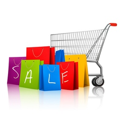Background with colorful shopping bags and vector image vector image