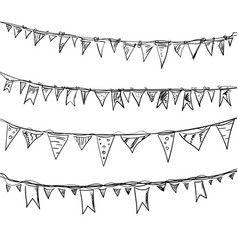 Hand drawn doodle bunting flags set vector