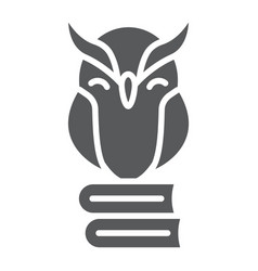 owl on books glyph icon e learning and education vector image