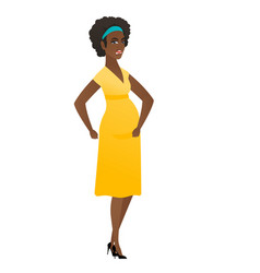 African-american angry pregnant woman screaming vector