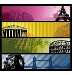 Europe cities Horizontal travel banners vector image vector image