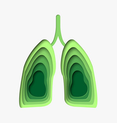 green lungs in paper craft style 3d abstract vector image