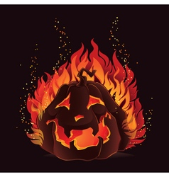 Halloween pumpkin in flames vector image