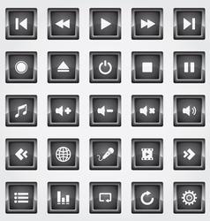Media square button black vector image