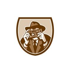 Photographer Shooting Camera Shield Retro vector image