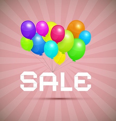 Sale Paper Title With Colorful Balloons on Pink vector image