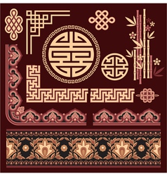 Set of Oriental Pattern Elements vector image vector image