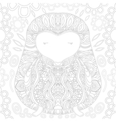 Coloring book page with zendoodle hedgehog vector image