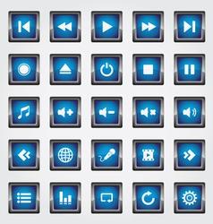 Media square button blue vector image