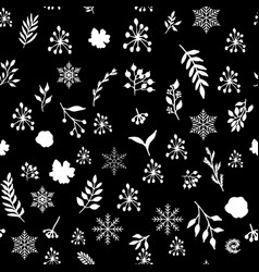 Seamless vintage winter pattern with hand drawn vector