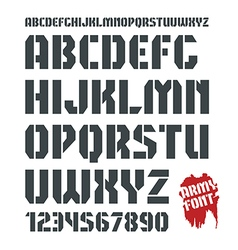 Stencil plate military font and numeral vector image