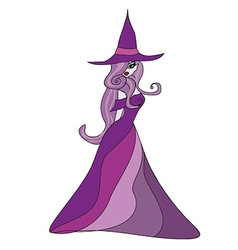 beautiful doodle witch vector image vector image