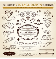 calligraphic elements vintage ornament set vector vector image vector image