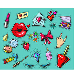 fashion badges or stickers hand drawn style vector image vector image