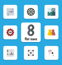 Flat icon entertainment set of jigsaw gomoku vector