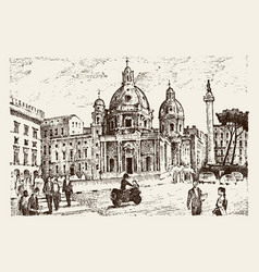 landscape in european town rome in italy vector image vector image