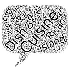 Puerto Rican Cuisine text background wordcloud vector image vector image