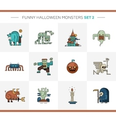Set of Halloween line flat design modern icons and vector image vector image