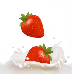 strawberry with milk vector image vector image