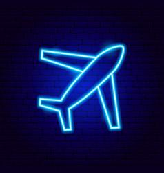 airplane flight neon sign vector image