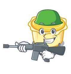 Army egg tart character cartoon vector