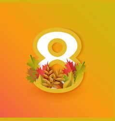 autumn eight 8 number with forest leaves vector image