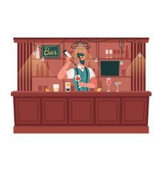 bartender making drinks and cocktails in bar pub vector image