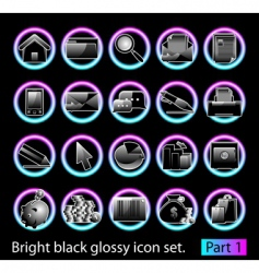 black glossy icon set 1 vector image