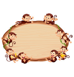 Border template design with cute monkeys vector