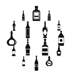 bottle forms icons set simple style vector image