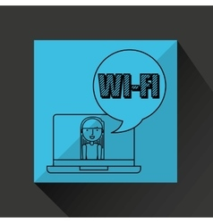 Character draw wifi technology social media vector