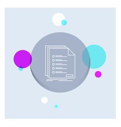 Check filing list listing registration white line vector