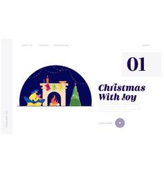 Christmas night website landing page happy woman vector