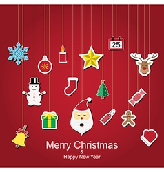 Christmas sticker icon hanging vector image