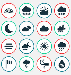 Climate icons set collection of nightly moisture vector