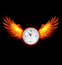Clock with fire wings on black background vector