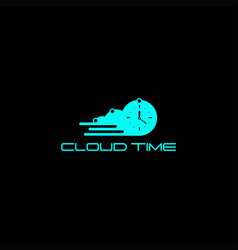 cloud time logo vector image