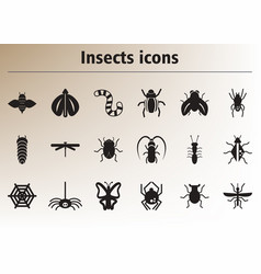 Collection stylish icons insects vector