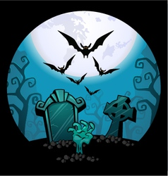 Creepy zombie hand and grave Halloween vector