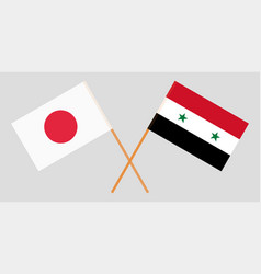 Crossed flags of syrian arab republic and japan vector
