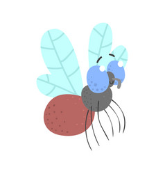 cute cartoon fly insect character vector image