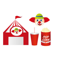 cute circus with pop corn and clown isolated over vector image