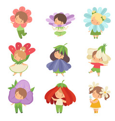 Cute little kids wearing flowers costumes set vector
