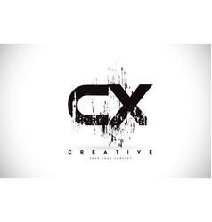 Cx c x grunge brush letter logo design in black vector