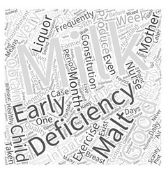 DEFICIENCY OF MILK Word Cloud Concept vector
