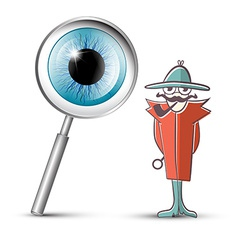 Detective with Magnifying Glass and Eye Symbol vector image vector image