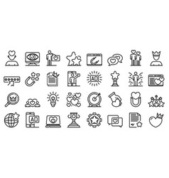 Engaging content icons set outline style vector
