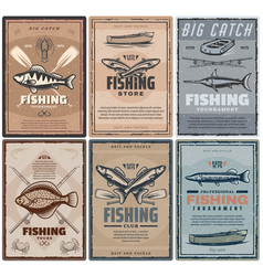 Fishing store or fisher sport tours vector