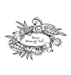 floral design monster flower frame drawing vector image