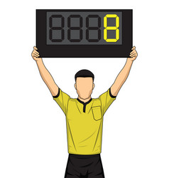 Football referee shows extra time the soccer vector